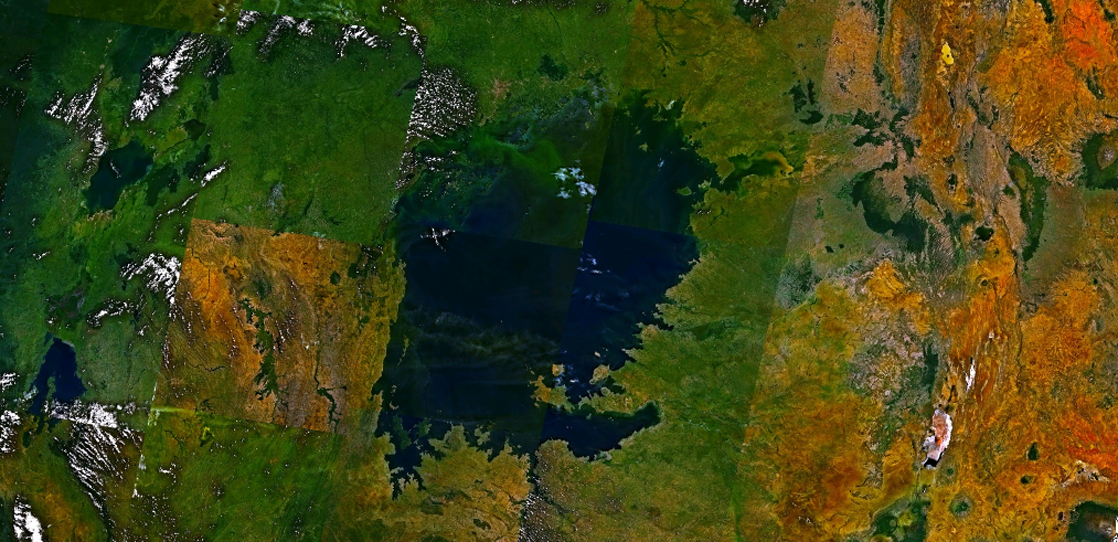 Satellite image shows a large blue lake surrounded by green land.
