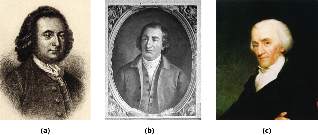 From left to right, portraits are shown of George Mason, Edmund Randolph, and Elbridge Gerry.