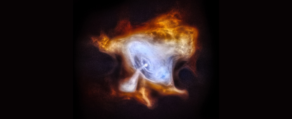 The Crab Nebula. At center, the pulsar is drawn as a white spot in the middle of concentric rings drawn in blue. A white jet of material spews from the pulsar toward the lower left part of the image. The pulsar, rings and jet are surrounded by a diffuse cloud of gas drawn in yellow.