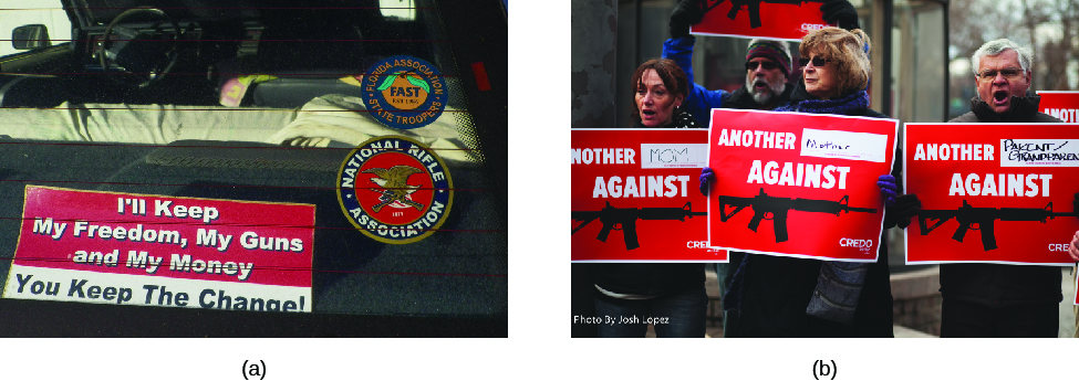 "Image A is of the back window of a truck. A sign visible through the back window reads ""I'll keep my freedom, my guns, and my money, you keep the change!"" Image B is of four people holding signs that read ""Another (blank) against (image of assault rifle)""."
