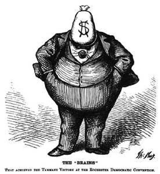 The cartoon shows Boss Tweed with a money bag as his head and a dollar sign as his face. The caption at the bottom of the cartoon reads The Brains that achieved the Tammany victory at the Rochester Democratic Convention.