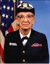 An elderly Grace Murray Hopper, in uniform