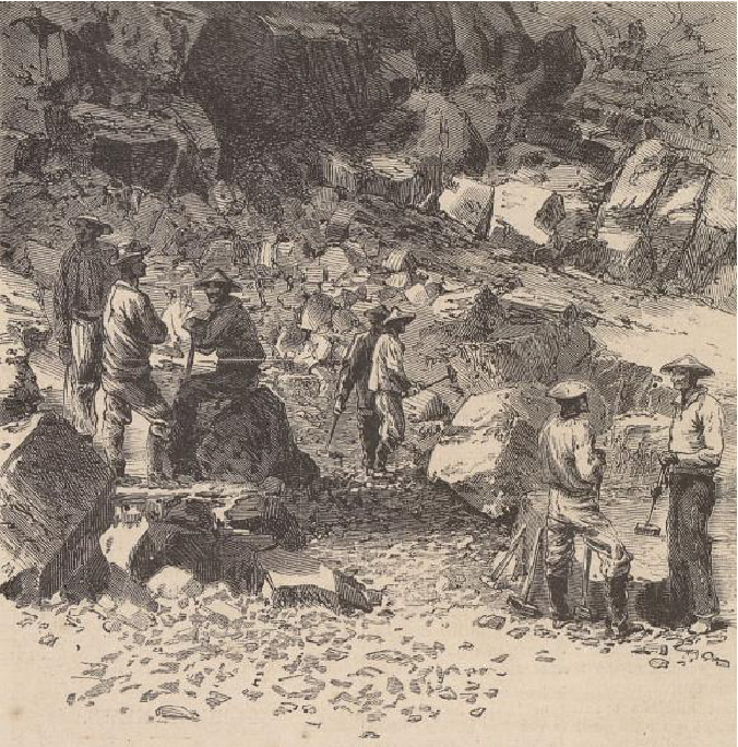 A drawing shows a group of Chinese laborers building a railroad. Several of the workers are conversing with one another.