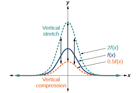 Graph of a function that shows vertical stretching and compression.