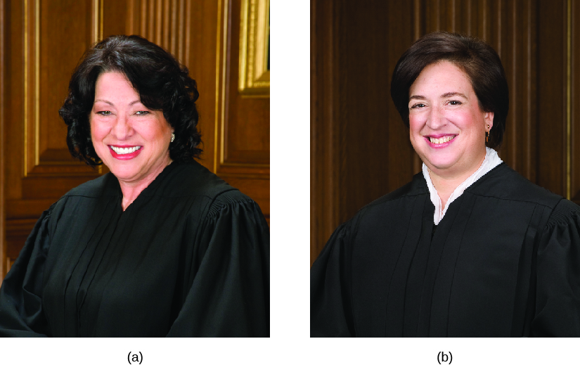 Image A is of Justice Sonia Sotomayor. Image B is of Justice Elena Kagan.