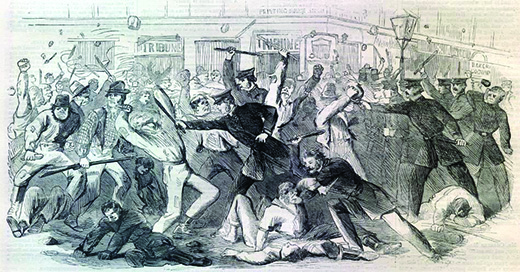 An illustration depicts the race riots in New York; white and black men pummel one another with sticks and rocks in the streets, whereas police officers attempt to intervene.