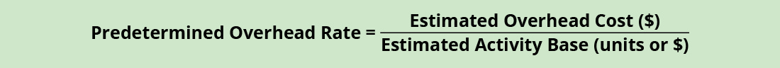Formula: Predetermined Overhead Rate = Estimated Overhead Cost (in dollars) divided by Estimated Activity Base (in units or dollars).