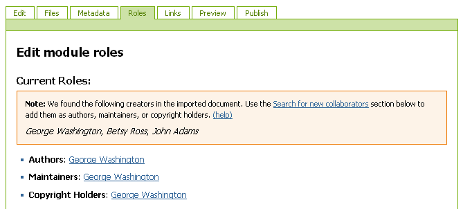 Roles tab with note listing creators who imported the document.