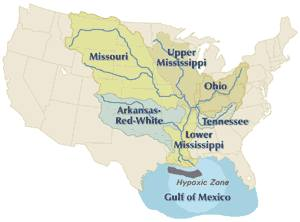 The catchment area of the Mississippi River