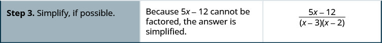 Step 3. Notice that 5 x minus 12 cannot be factored, so the answer is simplified.
