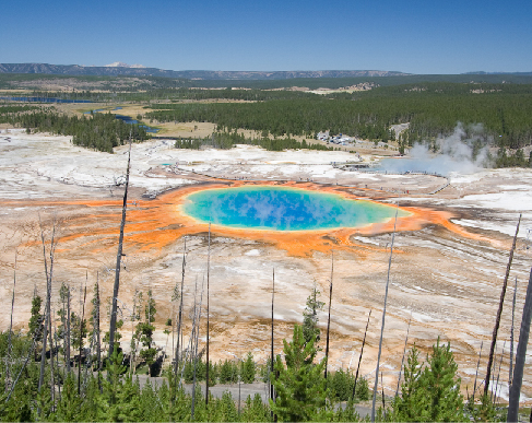 Grand Prismatic Spring in Yellowstone National Park. This unique, multi-colored lake is at center foreground in this expansive view of Yellowstone National Park.