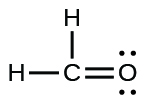 A Lewis structure shows a carbon atom that is single bonded to two hydrogen atoms and double bonded to an oxygen atom. The oxygen atom has two lone pairs of electrons.