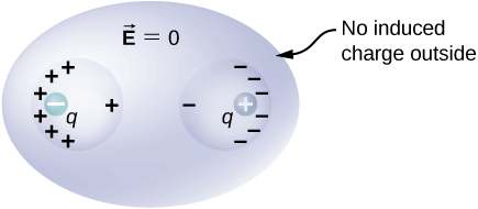 Figure shows a flattened sphere, labeled vector E equal to zero. It has two spherical cavities within it. Its outer surface of the flattened sphere is labeled no induced charge outside. The left cavity has a negative charge q inside it, on the left. The left surface of this cavity has many plus signs on it and the right surface has a single plus sign on it. The right cavity has a positive charge q inside it, on the right. The right surface of this cavity has many minus signs on it and the left surface has a single minus sign on it.