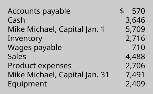Accounts payable $570, Cash 3,646, Mike Michael capital January 1 5,709, Inventory 2,716, Wages payable 710, Sales 4,488, Product expenses 2,706, Mike Michael capital January 31 7,491, Equipment 2,409.