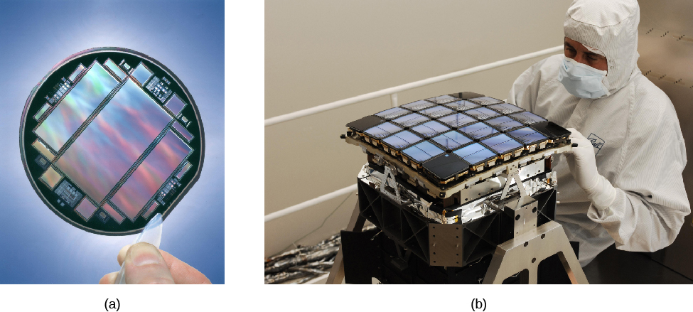 (a) A photograph shows a hand holding a technical device in tweezers; the device has flat metallic-appearing rectangles with colorful images. (b) A photograph shows a technician touching and observing a square object with 21 metallic-appearing squares.