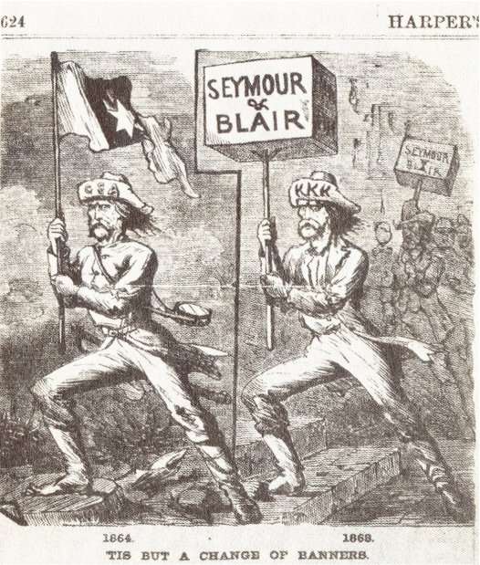 The cartoon shows similar images side-by-side. On the left, 1864, a man wears a hat labeled CSA and holds a Confederate flag. On the right, 1869, a man wears a hat labeled KKK and holds a sign that says