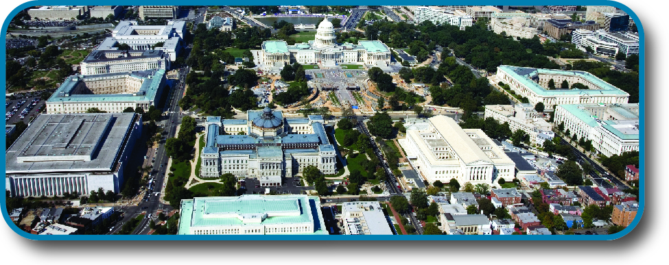 An aerial image of the U. S. Capitol Complex.