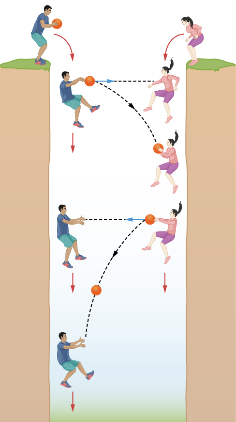 Free Fall. Two figures are drawn on opposite sides of a deep abyss. The figure at left holds a ball and both figures jump into the chasm at the same time. As the figures fall they pass the ball back and forth between them. From their perspective, the ball passes between them horizontally, indicated with a horizontal arrow connecting the figures when the ball is released. But from the perspective of an outside observer, the ball travels in a downward arc, indicated with a curved arrow drawn from where one figure releases the ball and where the other actually catches it.