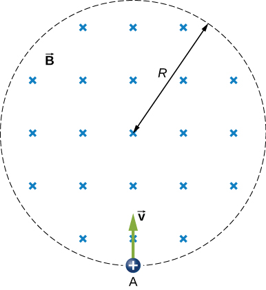 Figure shows a proton carried into a uniform magnetic field with a radius R.