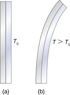 Figure a shows two vertical strips attached to each other. It is labeled T0. Figure b shows the same two strips bent towards the right, but still attached so the strip on the outside of the bend is longer. It is labeled T greater than T0.