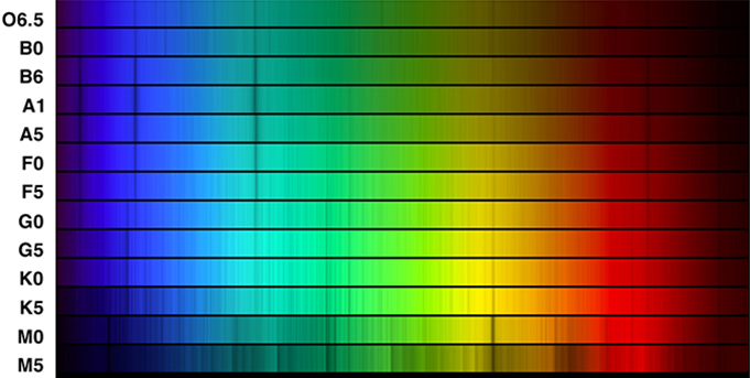 Composite image of the spectra of 13 stars of different spectral classes. The spectra are stacked one upon the other, starting from O6.5 at the top and then B0, B6, A1, A5, F0, F5, G0, G5, K0, K5, M0 and finally M5 at the bottom. Each spectrum is a band of color from blue on the left, through green, yellow and red at far right. Each spectrum has dark vertical lines which correspond to various chemical elements in each star's atmosphere. The hotter the star, the fewer absorption lines in its spectrum. Thus the O6.5 spectrum at top has just a few lines, while the M5 at bottom has hundreds of lines.