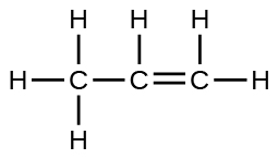 A Lewis structure is shown in which a carbon atom is single bonded to three hydrogen atoms and a second carbon atom. The second carbon is single bonded to a hydrogen atom and double bonded to a third carbon atom which is single bonded to two hydrogen atoms.