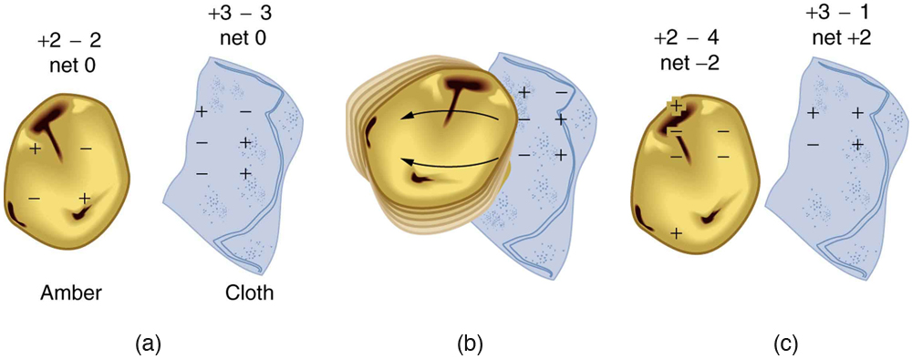 When materials are rubbed together, charges can be separated, particularly if one material has a greater affinity for electrons than another. (a) Both the amber and cloth are originally neutral, with equal positive and negative charges. Only a tiny fraction of the charges are involved, and only a few of them are shown here. (b) When rubbed together, some negative charge is transferred to the amber, leaving the cloth with a net positive charge. (c) When separated, the amber and cloth now have net charges, but the absolute value of the net positive and negative charges will be equal.