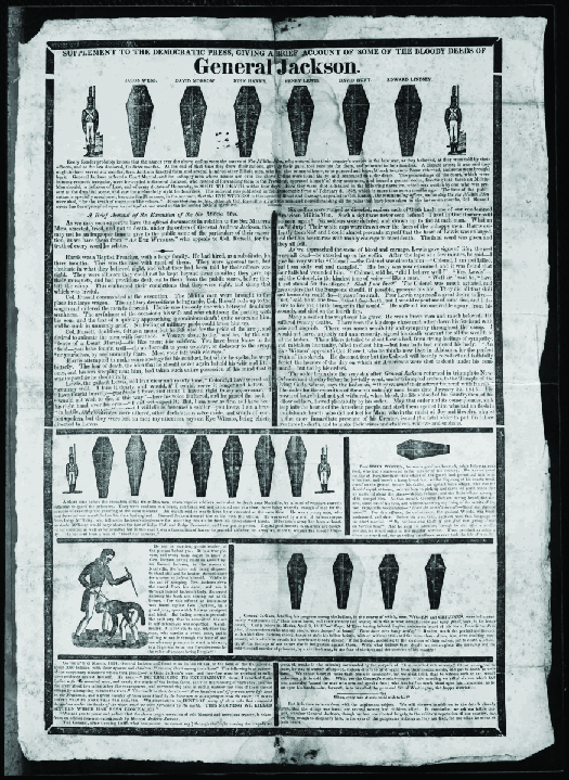 """An image of a handbill from the 1828 presidential election. The top reads """"General Jackson"""" underneath which are several coffins."""