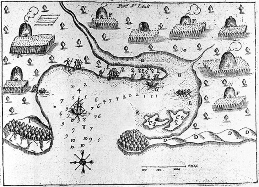 A map of Plymouth harbor shows wigwams and fields inland.