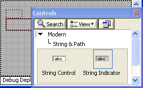 A screen capture of a window titled controls, with buttons to search and view, a hierarchical list beginning with Modern, then String and Path, and two objects, labeled string control and string indicator.