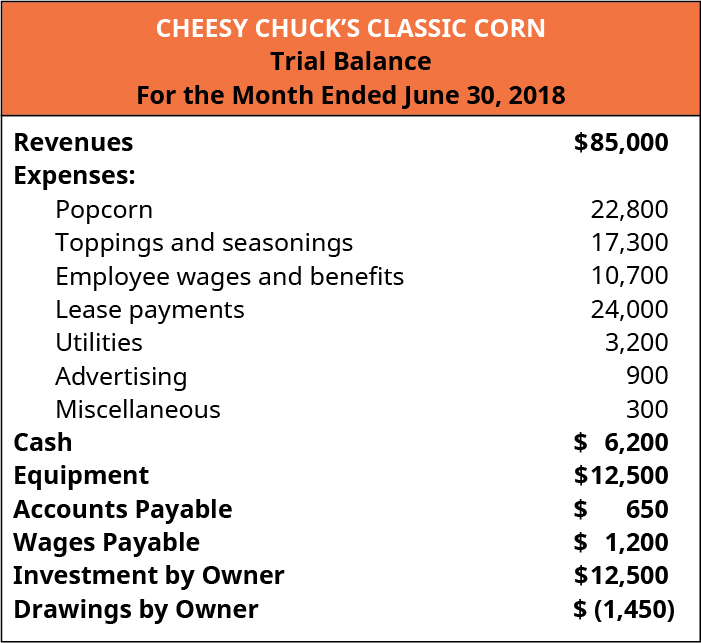 Cheesy Chuck's Classic Corn, Trial Balance, For the Month Ended June 30, 2018. Revenues $85,000; Expenses: Popcorn 22,800, toppings and seasonings 17,300, Employee wages and benefits 10,700, Lease payments 24,000, Utilities 3,200, Advertising 900, Miscellaneous 300; Cash 6,200; Equipment 12,500; Accounts Payable 650; Wages Payable 1,200; Investment by Owner 12,500; Drawings by owner minus 1,450.