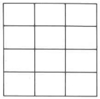 A rectangle divided into twelve parts in a pattern of four rows and three columns.