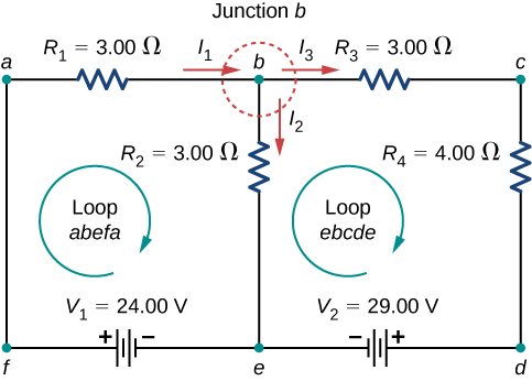 The figure shows a circuit with two loops consisting of two horizontal branches and three vertical branches. The first horizontal branch has two resistors of 3 Ω each and the second branch has two voltage sources of 24 V with positive terminal on the left and 29 V with positive terminal on the right. The left vertical branch is directly connected, the middle branch has a resistance of 3 Ω and the right branch has a resistance of 4 Ω.