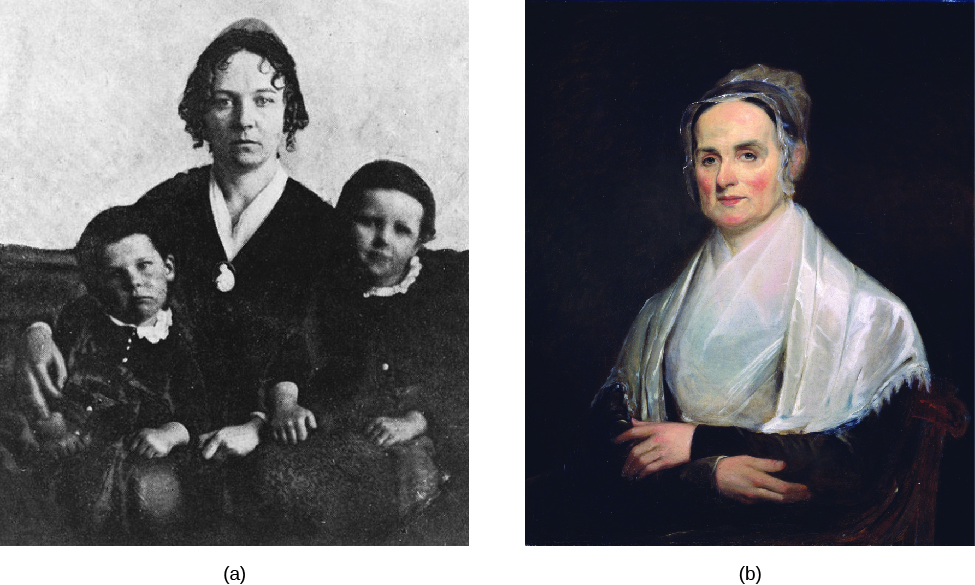 Image A is of Elizabeth Cady Stanton with her arms around two children who are seated on her lap. Image B is of Lucretia Mott standing with arms crossed.