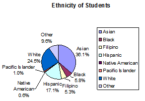 Pie chart showing ethnicity alphabetically.