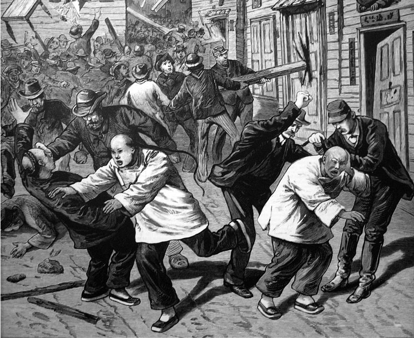Image shows a crowd of American men beating Chinese men in the street and destroying their property.