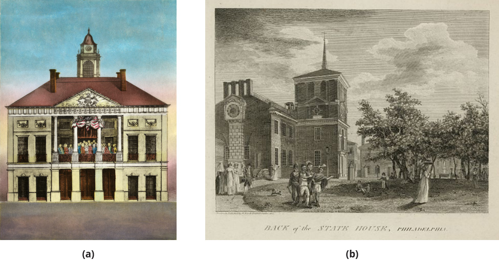 Left: An image of Federal Hall in New York City. Right: An illustration of the State House in Philadelphia.