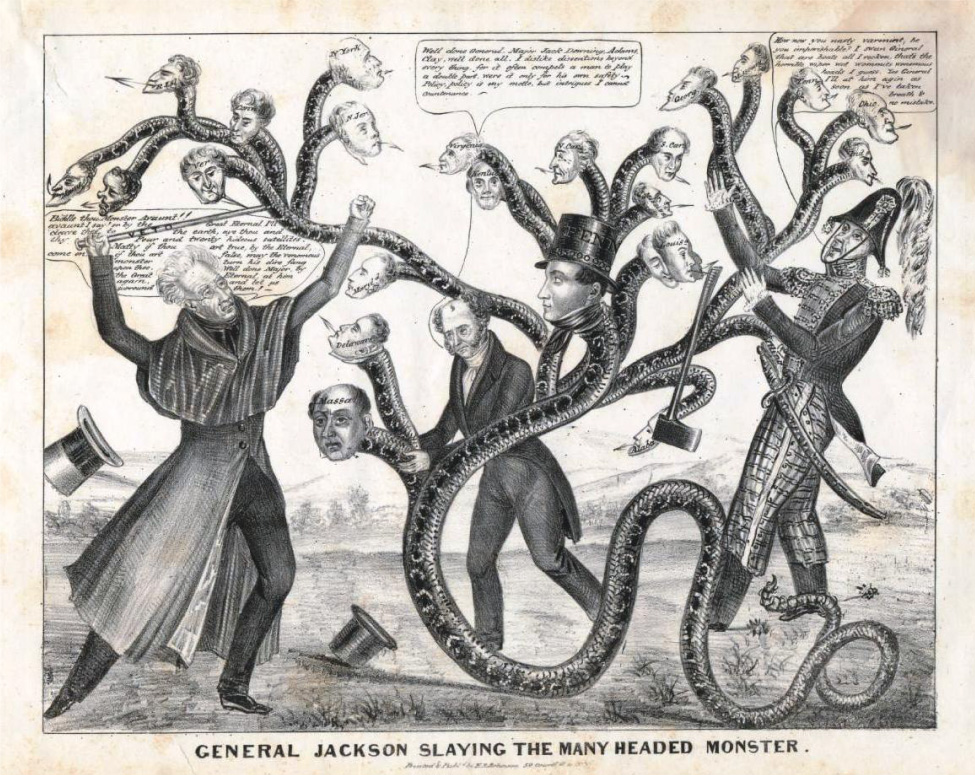 "Cartoon of three men fighting a monstrous snake-like creature with multiple human heads. The man on the left holds a cane that says ""veto"" on it. The man on the right has dropped his axe."