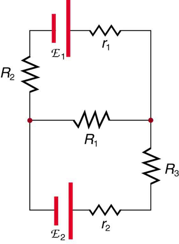 A complicated circuit diagram shows multiple resistances and voltage sources wired in series and in parallel. The circuit has three arms. The first has a cell of e m f script E sub one and internal resistance r sub one in series with a resistor R sub two. The second has a cell of e m f script E sub two and internal resistance r sub two in series with resistor R sub three. The third arm has a resistor R sub one. The three arms are connected in parallel.