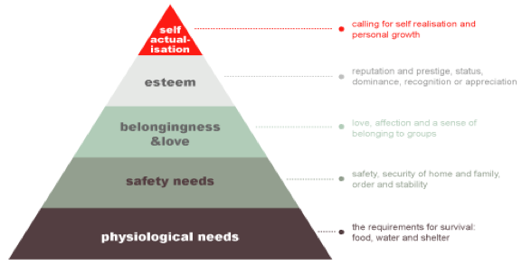 A triangle with multiple sections, forming a hierarchy. On the bottom are physiological needs. The requirements for survival: food, water and shelter. The second level is safety needs. This is safety, security of home and family, order and stability. The third level is belongingness and love, which is composed of love, affection and a sense of belonging to groups. The fourth level is esteem. This is composed of reputation and prestige, status, dominance, recognition or appreciation. The fifth and final level is self-actualization, or calling for self realisation and personal growth.
