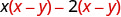 The difference of two products. The product of x and x minus 7, minus the product of 2 and x minus y.