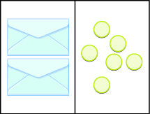 This image illustrates a workspace divided into two sides. The content of the left side is equal to the content of the right side. On the left side, there are two envelopes each containing an unknown but equal number of counters. On the right side are six counters.