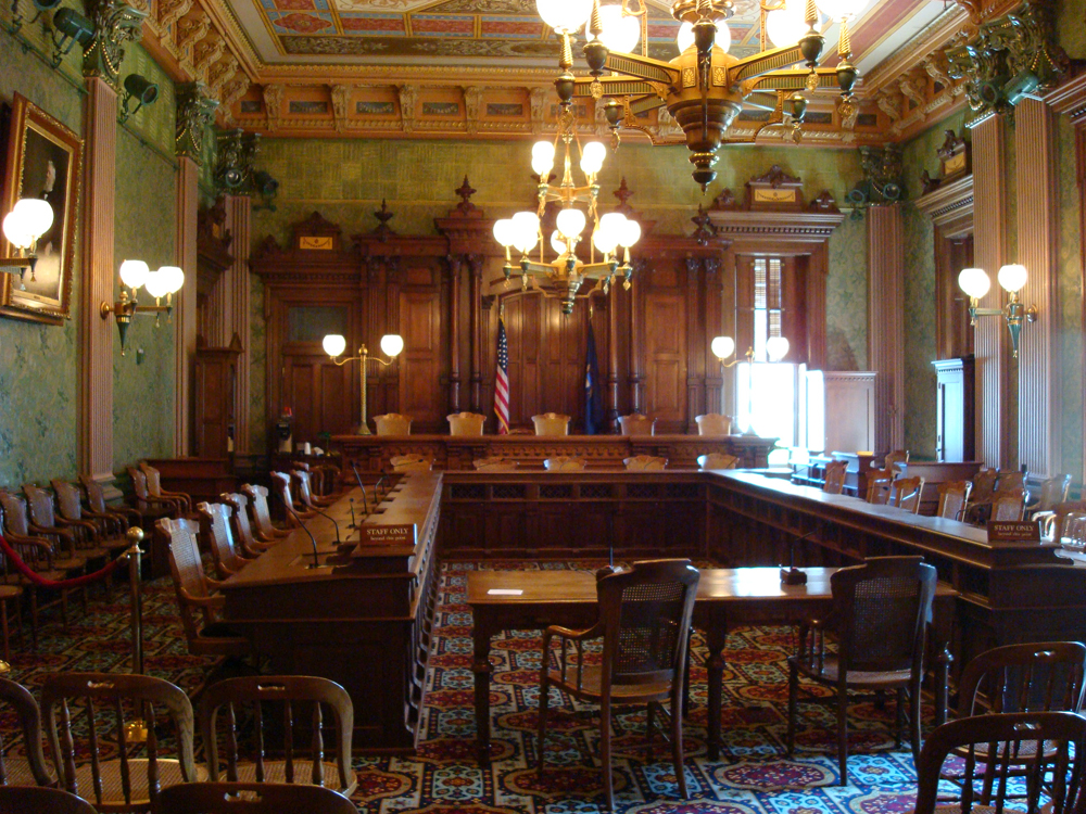 Two different courthouse setups are shown here.