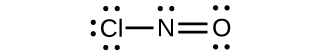 A Lewis structure shows a nitrogen atom with a lone pair of electrons single bonded to a chlorine atom that has three lone pairs of electrons. The nitrogen is also double bonded to an oxygen which has two lone pairs of electrons.
