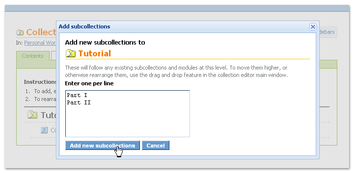 Enter subcollection titles in the pop-up