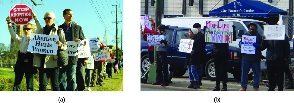 "Photo A shows a group of people in a line holding signs. The signs that are visible read ""Stop abortion now"" and ""Abortion hurts women"". Photo B shows a group of people in a line in front of a building holding signs. The signs that are visible read ""Trust Women"" and ""Pro-life that's a lie you don't care if women die""."