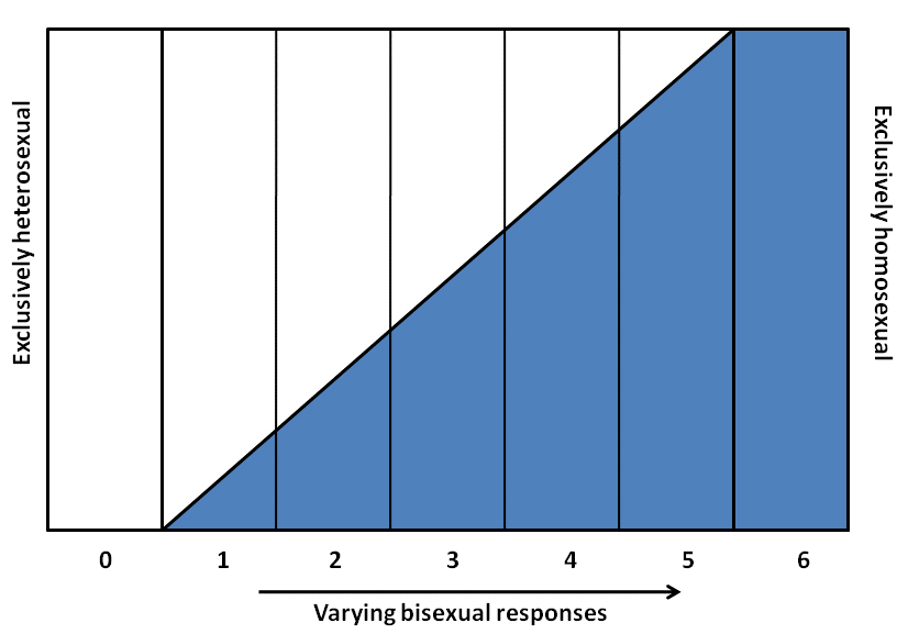 A bar graph from 0 to 6 with a blue shaded area showing an increasing amount of shaded area representing varying bisexual responses from 1 to 6.