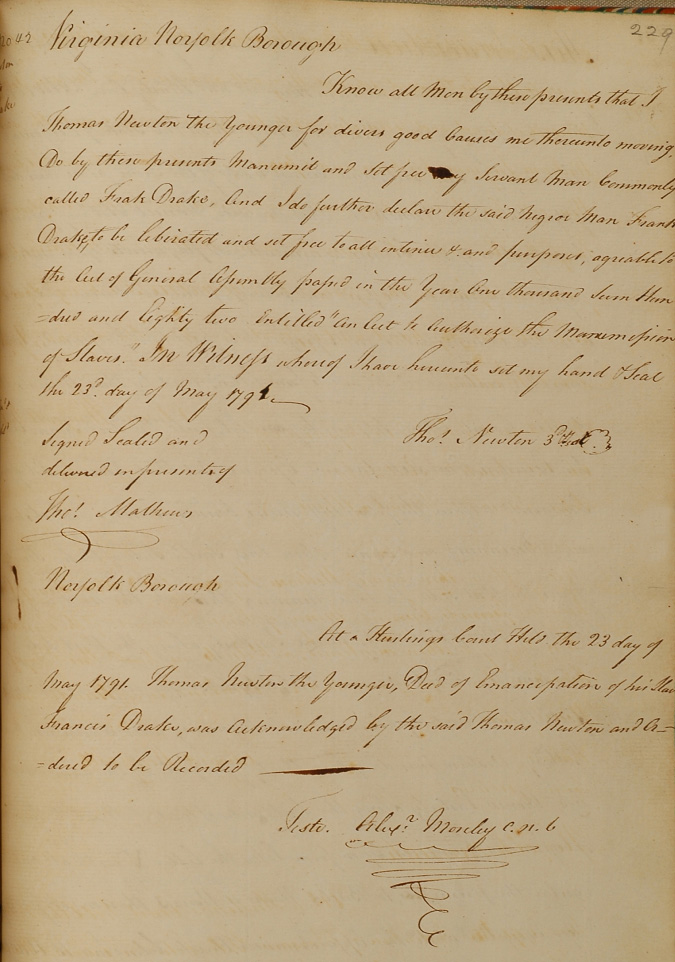 A handwritten deed of manumission.
