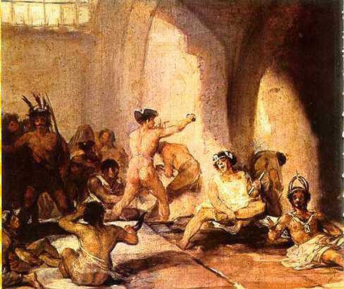 A painting depicts the inside of a mental asylum in the early 1800s.