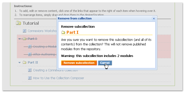 Pop-up confirming removal of a subcollection
